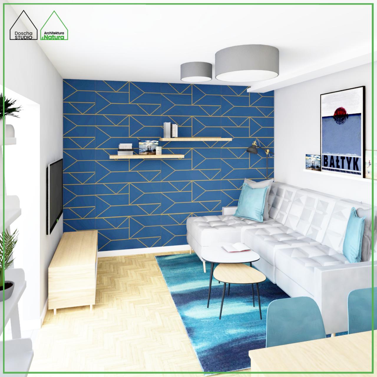 Nowoczesny salon w niebieskiej kolorystyce w stylu skandynawskim Projekt: Doscha STUDIO Julia Chalimoniuk