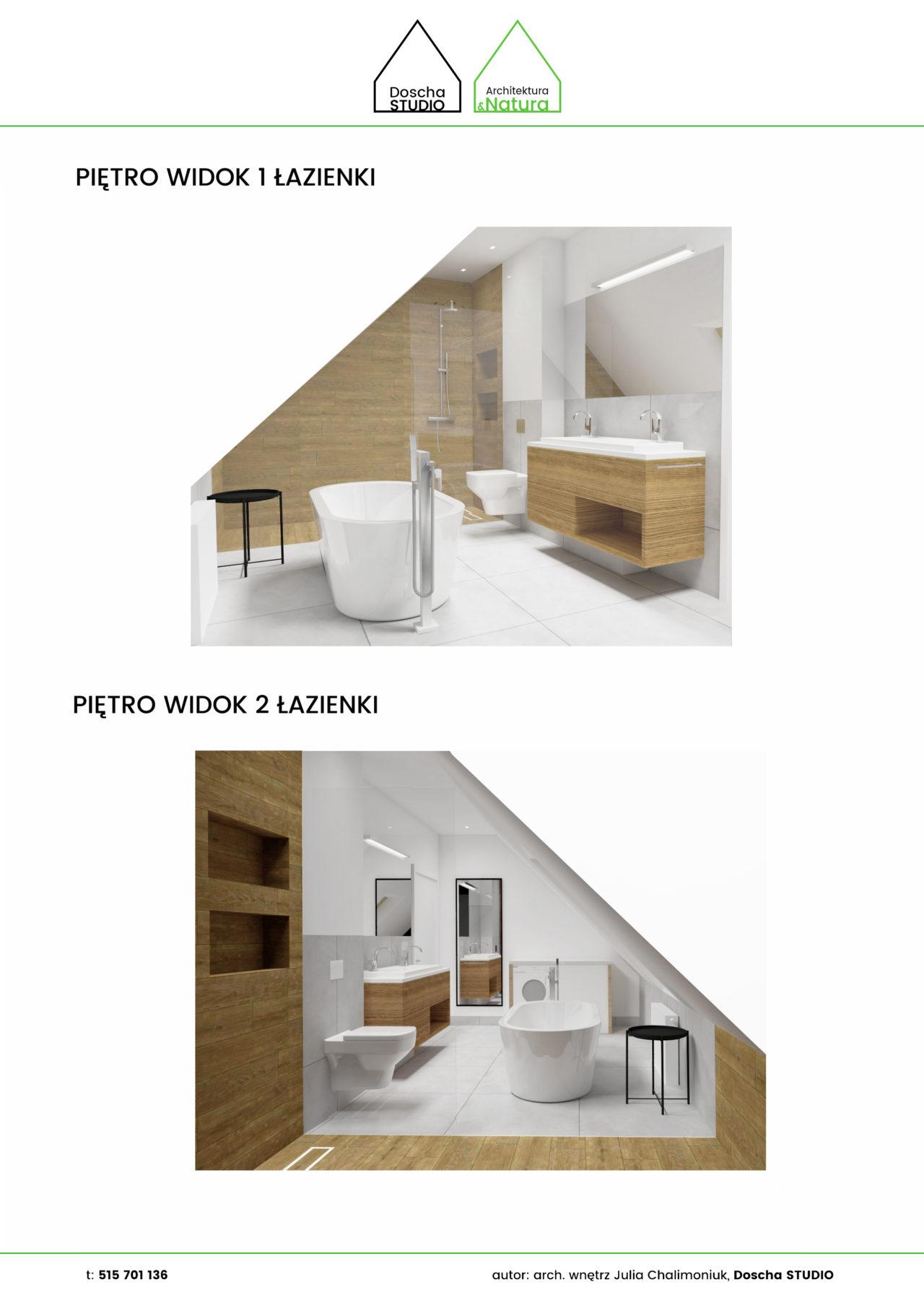 Łazienka na poddaszu z wolnostojącą wannąprojektowanie wnętrz: Doscha STUDIO Julia Chalimoniuk