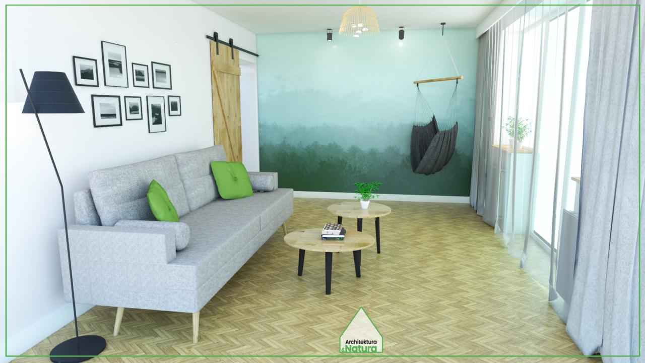 Projekt wnętrza salonu z huśtawką w Gdyni Projekt: Doscha STUDIO Julia Chalimoniuk