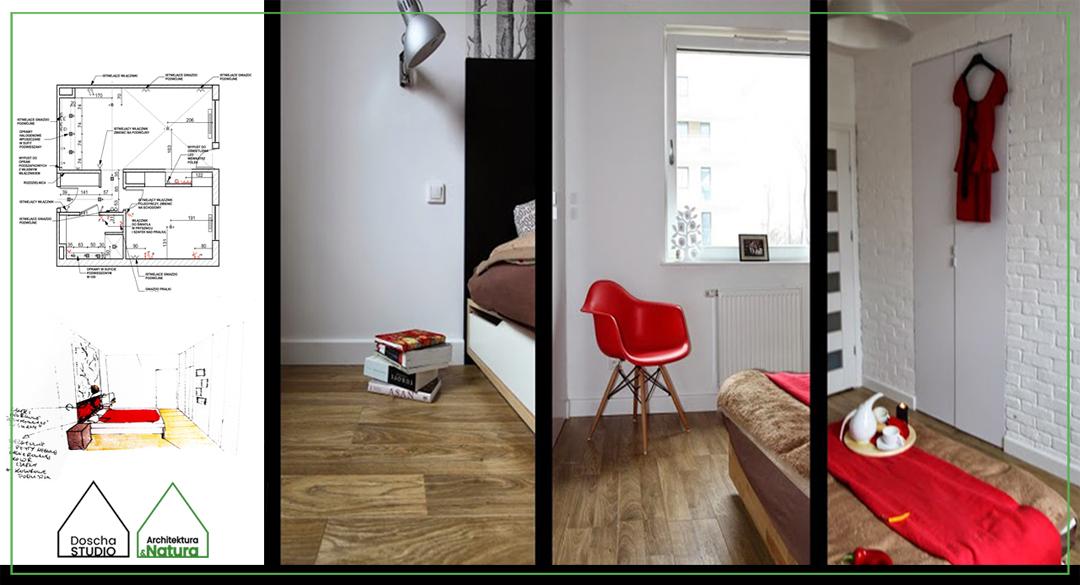 Projekt minimalistycznej sypialni z tapetą w brzozy Projektowanie wnętrz: Doscha STUDIO Julia Chalimoniuk