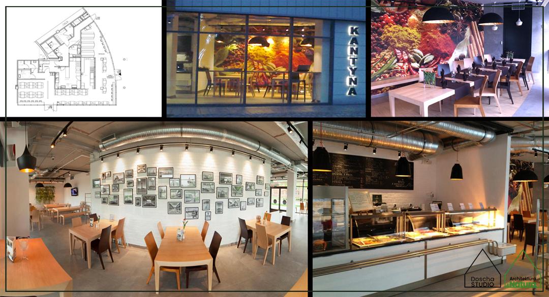 Projekt wnętrza restauracji, kantyny Projektowanie wnętrz: Doscha STUDIO Julia Chalimoniuk