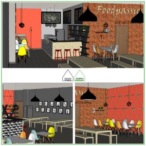 Projekt restauracji, kantyny w Gdańsku Projektowanie wnętrz: Doscha STUDIO Julia Chalimoniuk