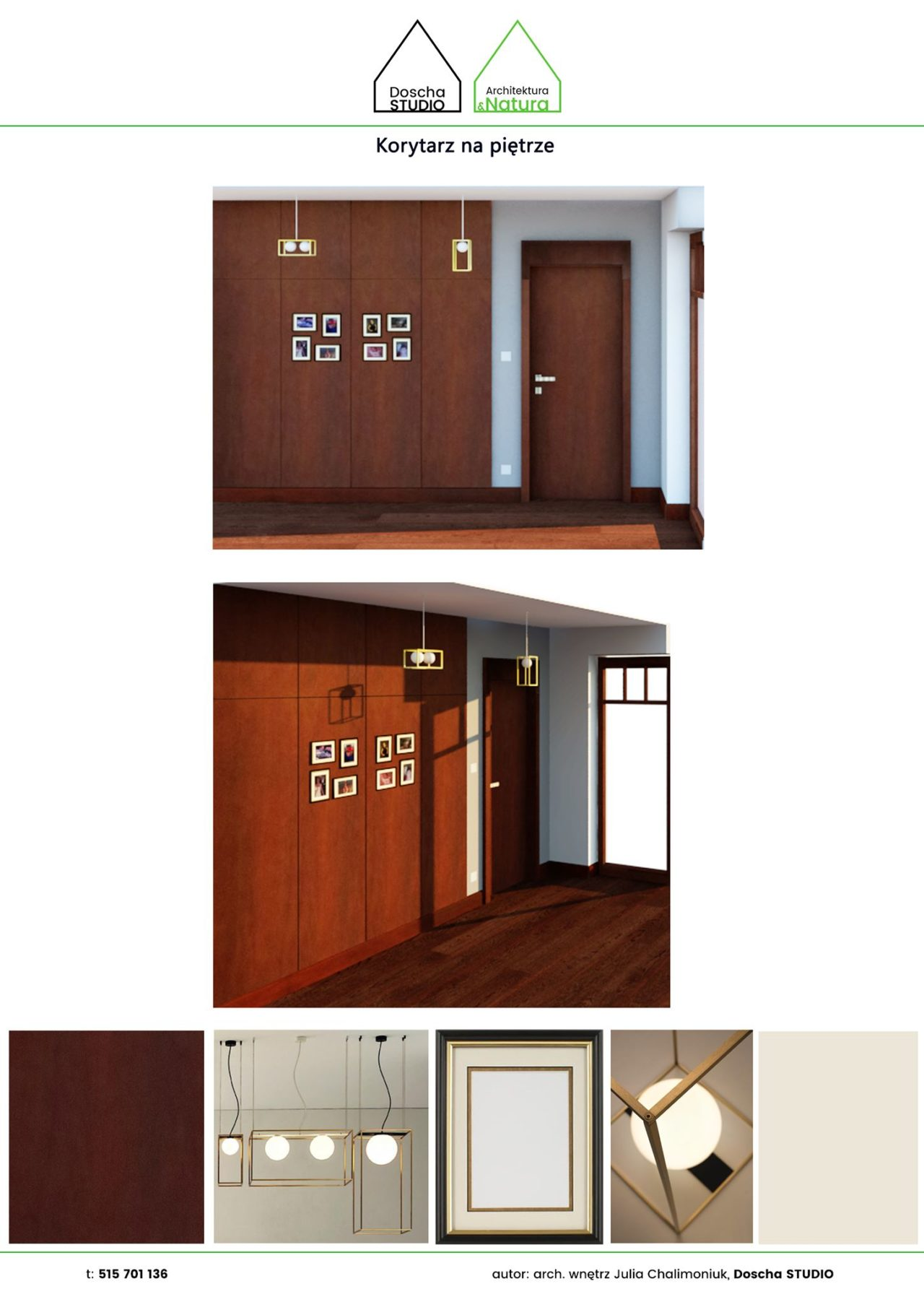 Aranżacja galerii zdjęć na korytarzu w domu w Gdańsku Projektowanie wnętrz: Doscha STUDIO Julia Chalimoniuk