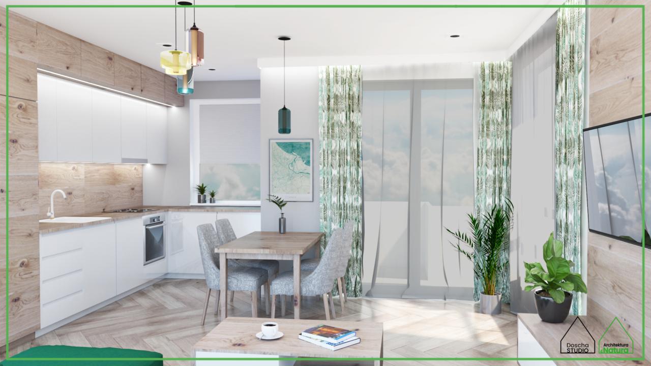 Nowoczesny salon z kuchnią w Gdańku Projektowanie wnętrz: Doscha STUDIO Julia Chalimoniuk