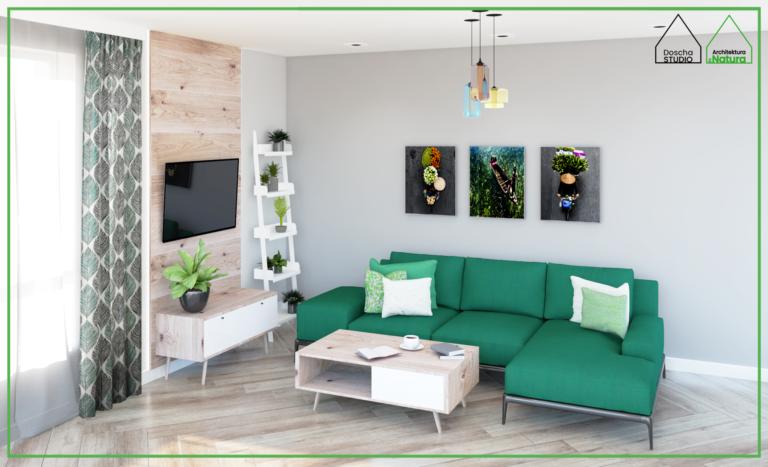 Projekt salonu z zieloną kanapą dla pasjonatów roślin Projektowanie wnętrz: Doscha STUDIO Julia Chalimoniuk