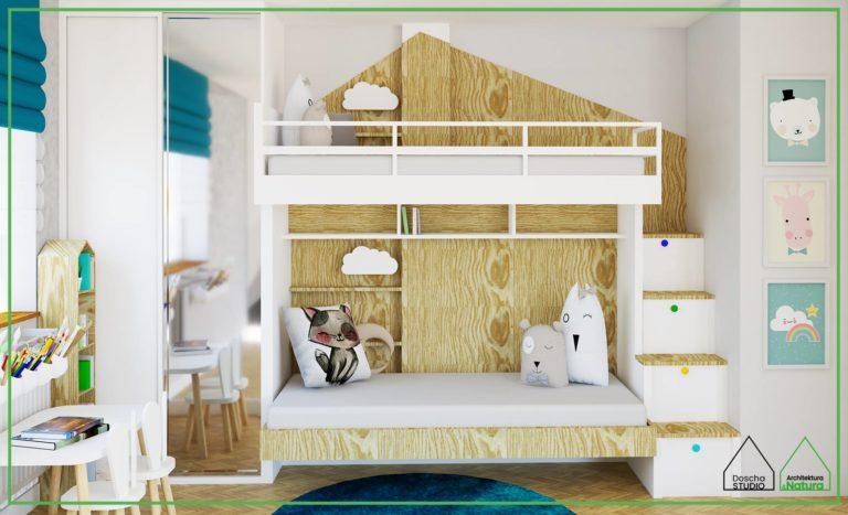 Oryginalny pokój dziecięcy ze składanym łóżkiem piętrowym projekt: Doscha STUDIO Julia Chalimoniuk