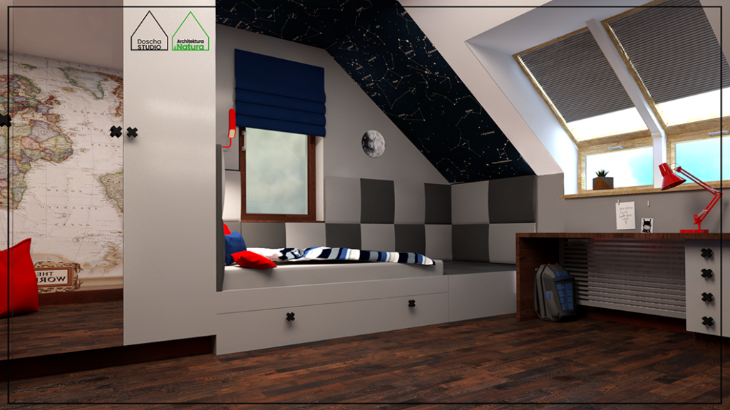 Projekt wnętrza pokoju nastolatka na poddaszu projekt: Doscha STUDIO Julia Chalimoniuk
