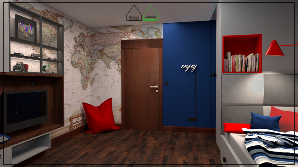 Projekt wnętrza pokoju nastolatka projekt: Doscha STUDIO Julia Chalimoniuk