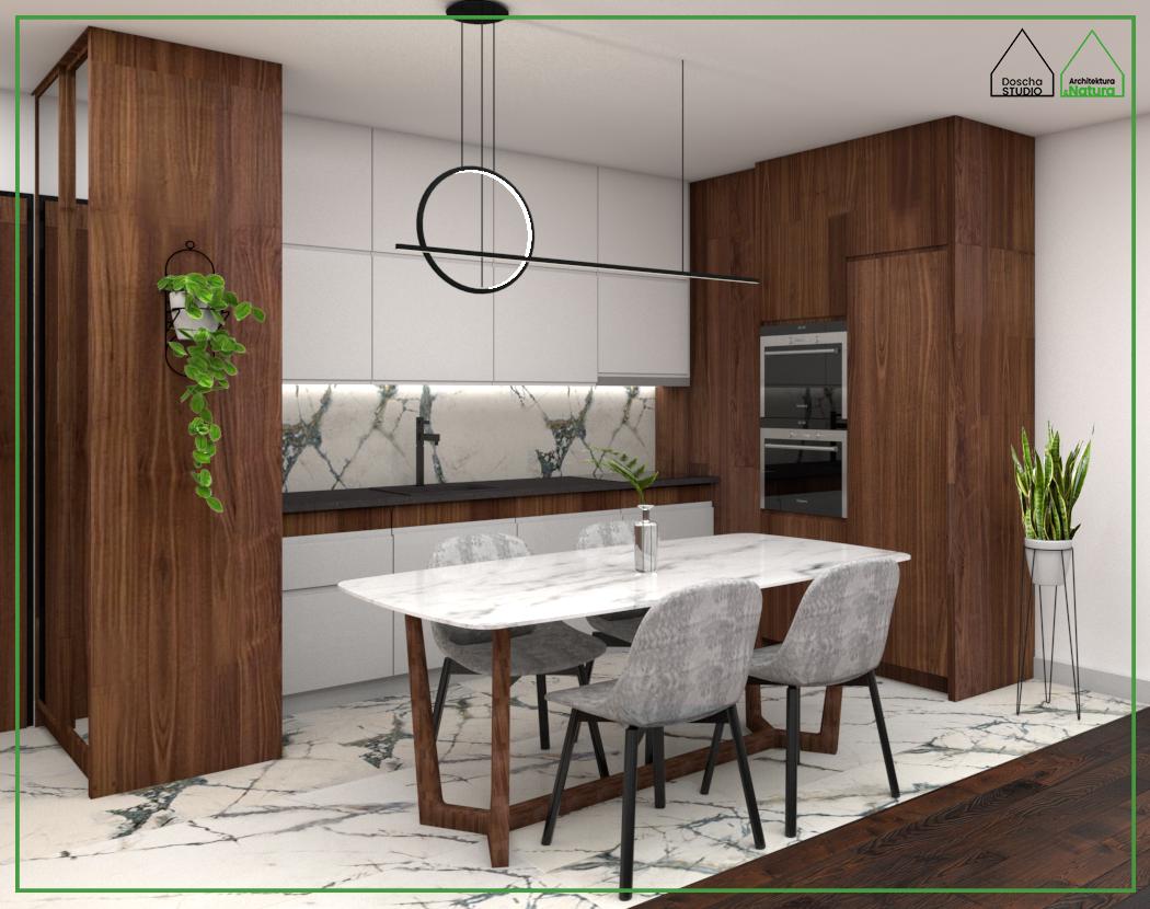 Elegancka kuchnia z kwietnikami firmy Bujnie Projekt wnętrz: Doscha STUDIO Julia Chalimoniuk